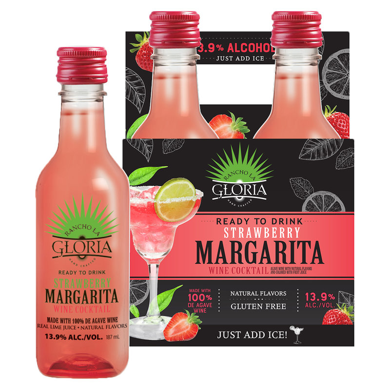 Rancho La Gloria Strawberry Margarita 4 Pack 187 Ml Bottles Snacks Drinks Delivered Fast Online Delivery App