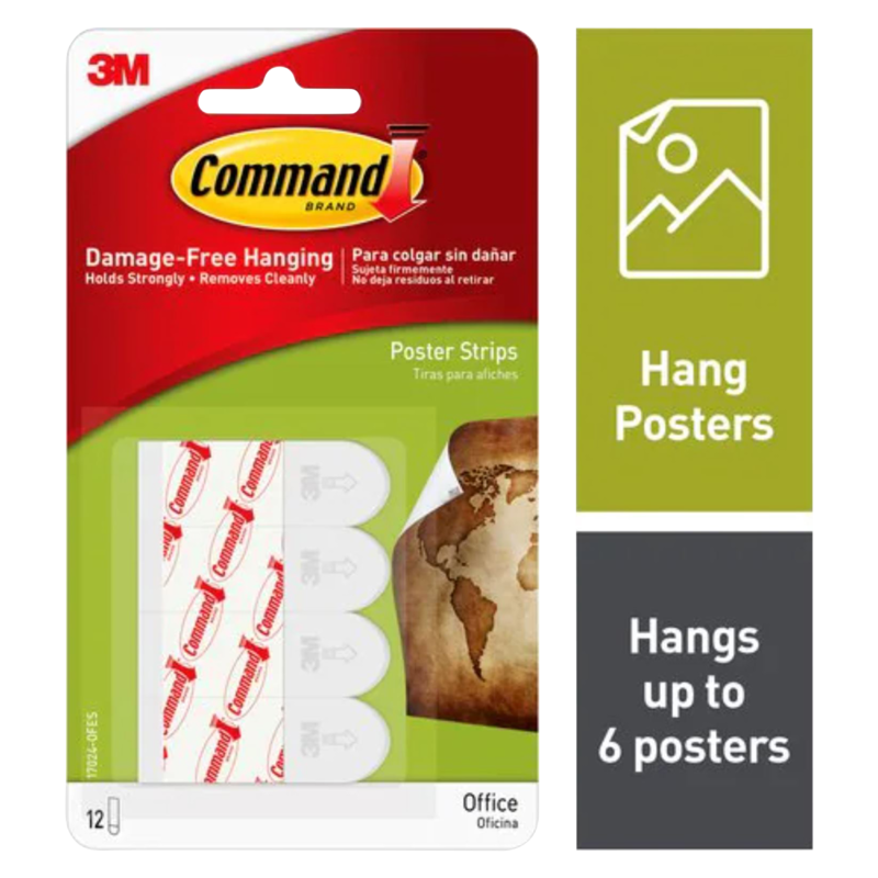 Command Small Poster Strips 12pk